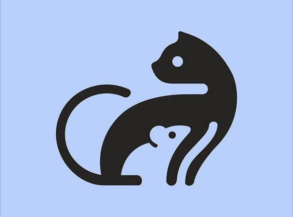 Sjabloon logo kat en muis